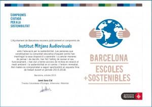 Diploma compromís ciutadà EMAV amb Barcelona escoles més Sostenibles